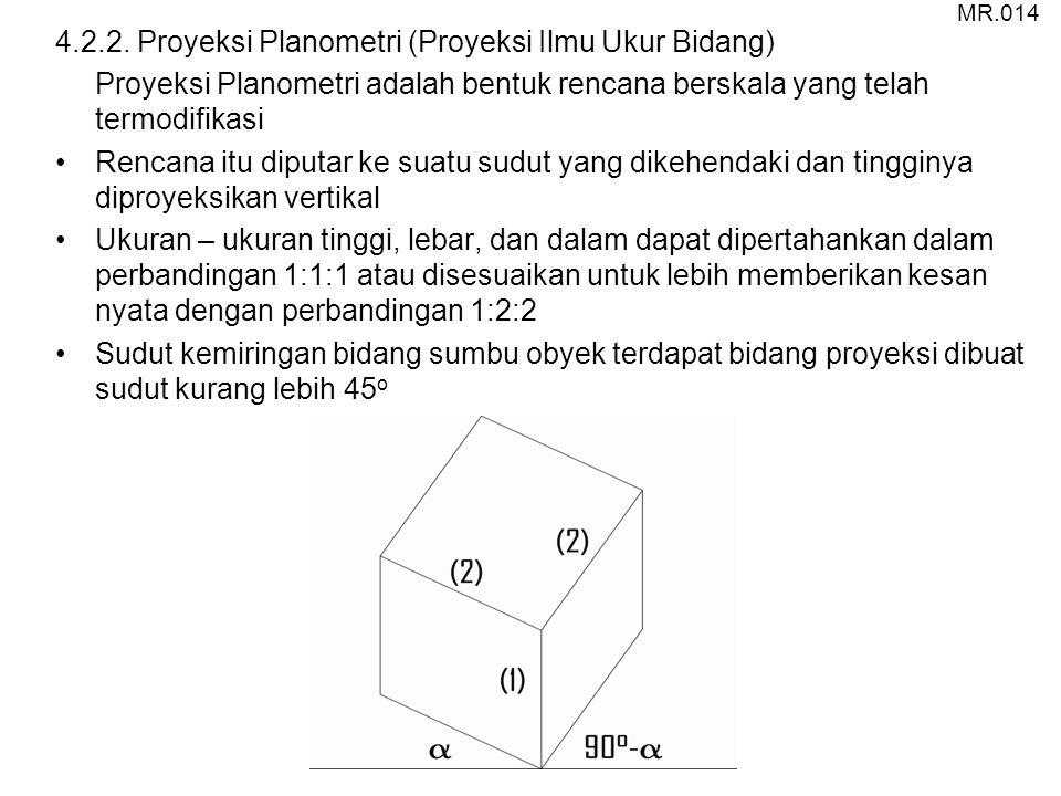 4.2.2. Proyeksi Planometri (Proyeksi Ilmu Ukur Bidang) Proyeksi Planometri adalah bentuk rencana berskala yang telah termodifikasi Rencana itu diputar