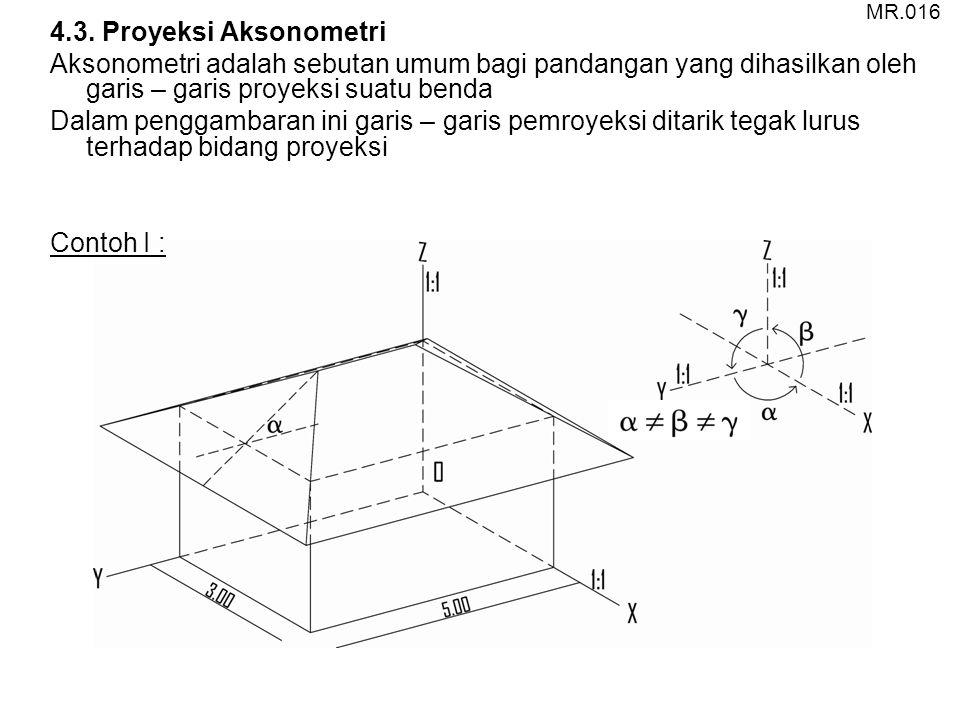 4.3. Proyeksi Aksonometri Aksonometri adalah sebutan umum bagi pandangan yang dihasilkan oleh garis – garis proyeksi suatu benda Dalam penggambaran in