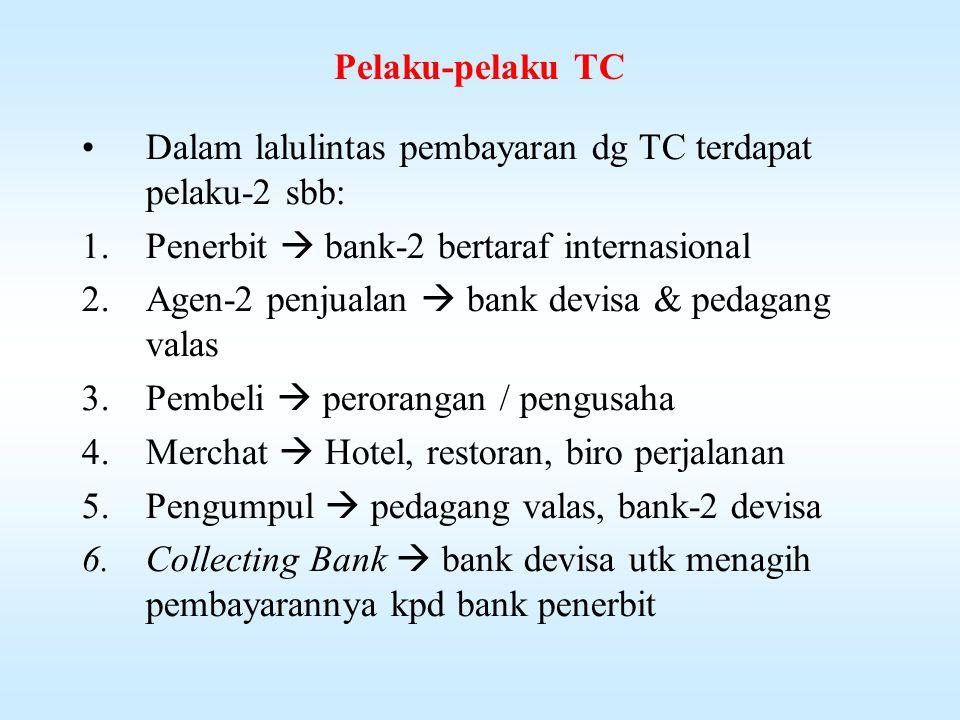 Travellers Cheque (TC) Adalah pengganti uang tunai untuk dibawa dlm perjalanan Adalah cheque yg ditarik / diterbitkan oleh sebuah bank bertaraf internasional atas salah satu bank korespondennya.