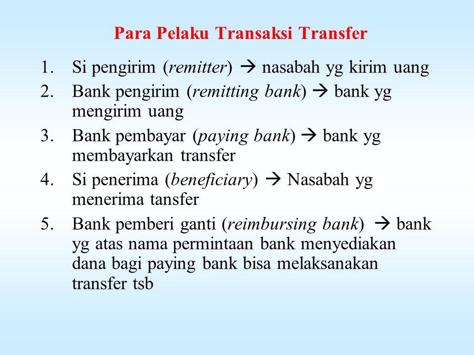 Transfer Adalah pengiriman uang lewat bank (bank transfer) / remittance  terjadi karena transaksi pembayaran antara sipembayar & penerima tdk saling ketemu langsung Timbul krn berbagai macam transaksi pembayaran dimana kedua belah bertempat di daerah / negara yg berbeda.