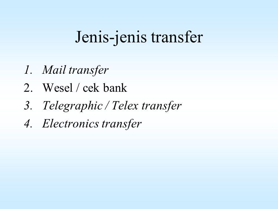 Para Pelaku Transaksi Transfer 1.Si pengirim (remitter)  nasabah yg kirim uang 2.Bank pengirim (remitting bank)  bank yg mengirim uang 3.Bank pembayar (paying bank)  bank yg membayarkan transfer 4.Si penerima (beneficiary)  Nasabah yg menerima tansfer 5.Bank pemberi ganti (reimbursing bank)  bank yg atas nama permintaan bank menyediakan dana bagi paying bank bisa melaksanakan transfer tsb