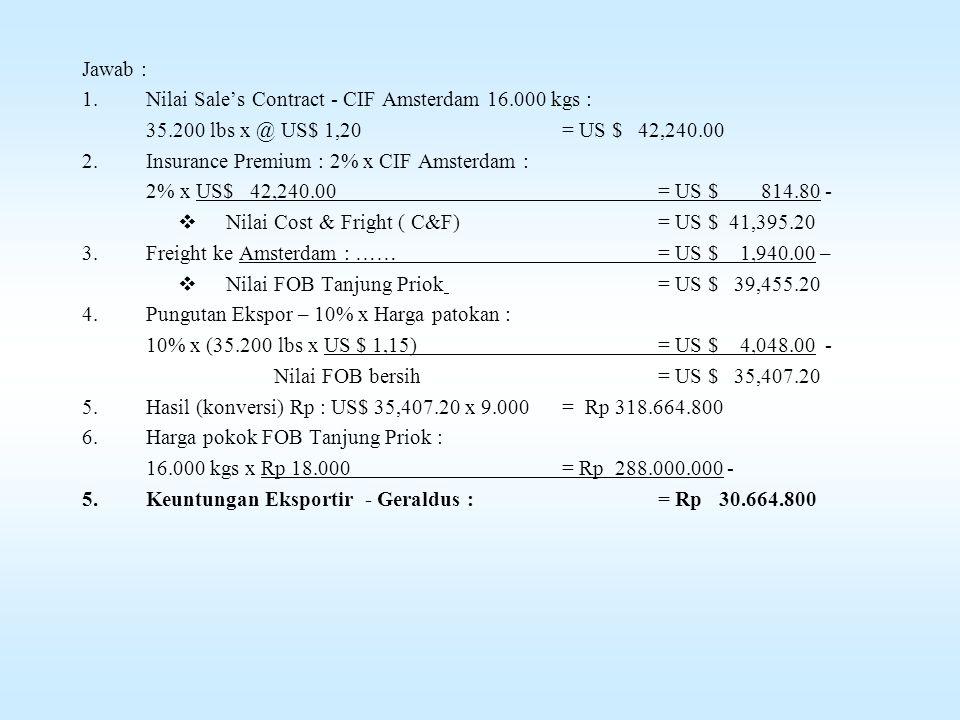 Contoh Soal - Pola REAKTIF Perusahaan Van Den Saar Ltd di Amsterdam Belanda, bersedia membeli Lada Putih dari Geraldus HN – Eksportir Indonesia dengan harga CIF Amsterdam US $ 1,20 / lbs.