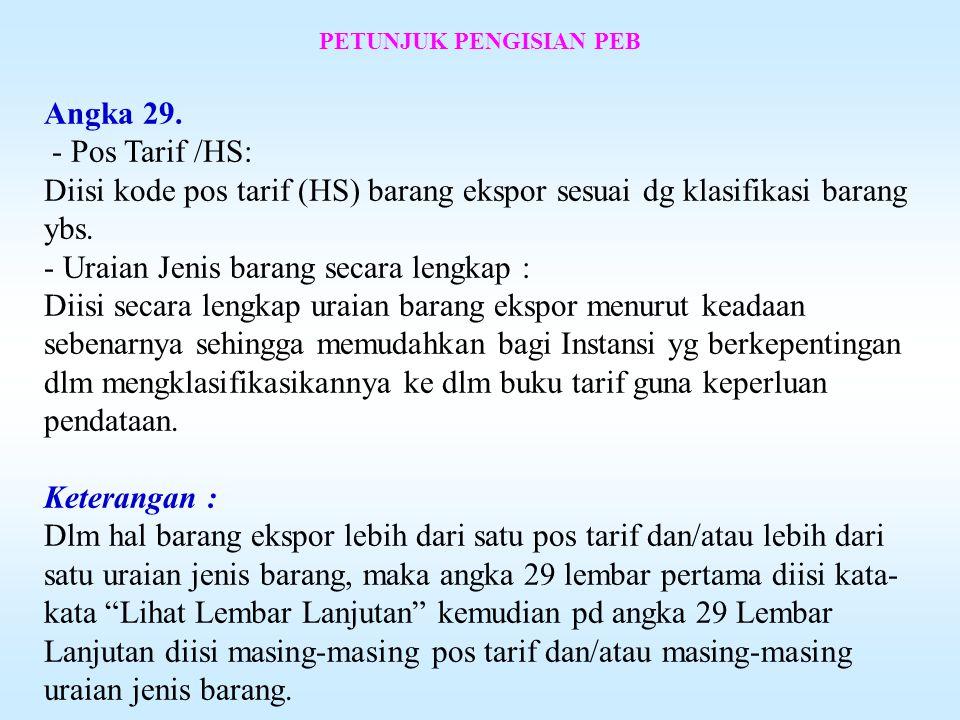 PETUNJUK PENGISIAN PEB Angka 27.