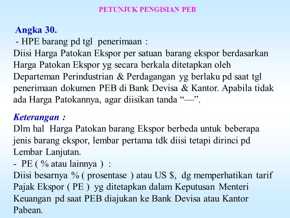 PETUNJUK PENGISIAN PEB Angka 29.