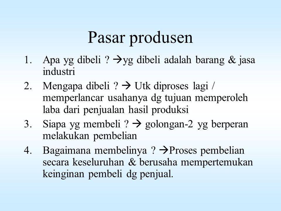 2. Pasar Produsen / pasar industri / pasar bisnis Adalah pasar yg terdiri dari individu dan lembaga / organisasi yg membeli barang-2 utk diproses menj