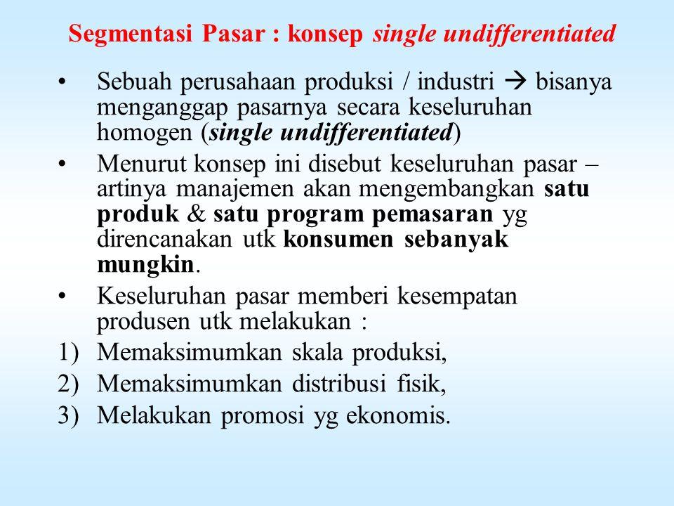 Homogenitas segmen pasar Homogenitas masing-2 disebabkan adanya perbedaan-2 dlm : 1.Kebiasaan membeli 2.Cara penggunaan barang 3.Kebutuhan pemakai 4.Motif pembelian 5.Tujuan pembelian 6.Dsb.