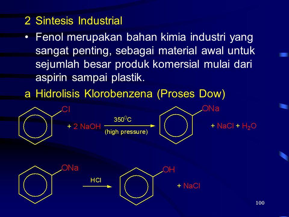 100 2Sintesis Industrial Fenol merupakan bahan kimia industri yang sangat penting, sebagai material awal untuk sejumlah besar produk komersial mulai d