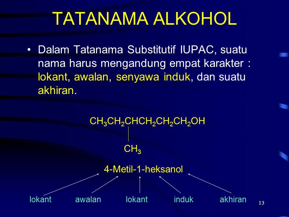 13 TATANAMA ALKOHOL Dalam Tatanama Substitutif IUPAC, suatu nama harus mengandung empat karakter : lokant, awalan, senyawa induk, dan suatu akhiran. C