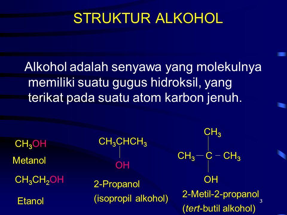 3 STRUKTUR ALKOHOL Alkohol adalah senyawa yang molekulnya memiliki suatu gugus hidroksil, yang terikat pada suatu atom karbon jenuh. Metanol Etanol 2-