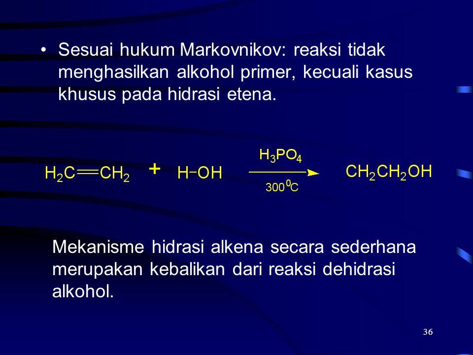 36 Sesuai hukum Markovnikov: reaksi tidak menghasilkan alkohol primer, kecuali kasus khusus pada hidrasi etena. Mekanisme hidrasi alkena secara sederh