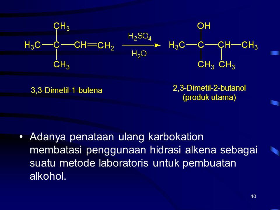 40 Adanya penataan ulang karbokation membatasi penggunaan hidrasi alkena sebagai suatu metode laboratoris untuk pembuatan alkohol. 2,3-Dimetil-2-butan