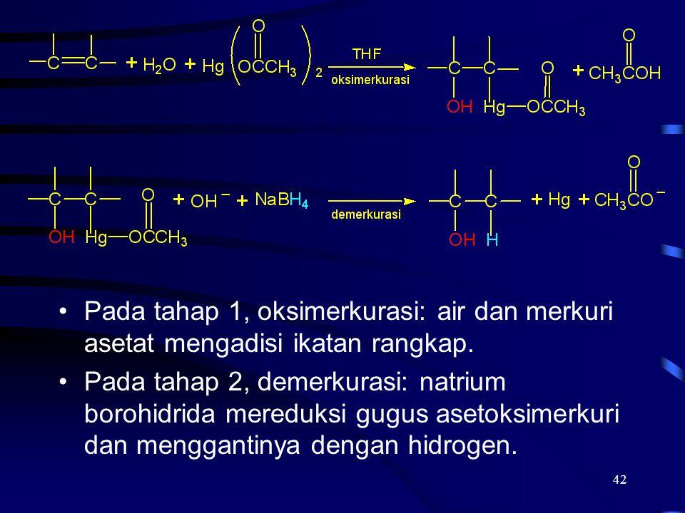 42 Pada tahap 1, oksimerkurasi: air dan merkuri asetat mengadisi ikatan rangkap. Pada tahap 2, demerkurasi: natrium borohidrida mereduksi gugus asetok