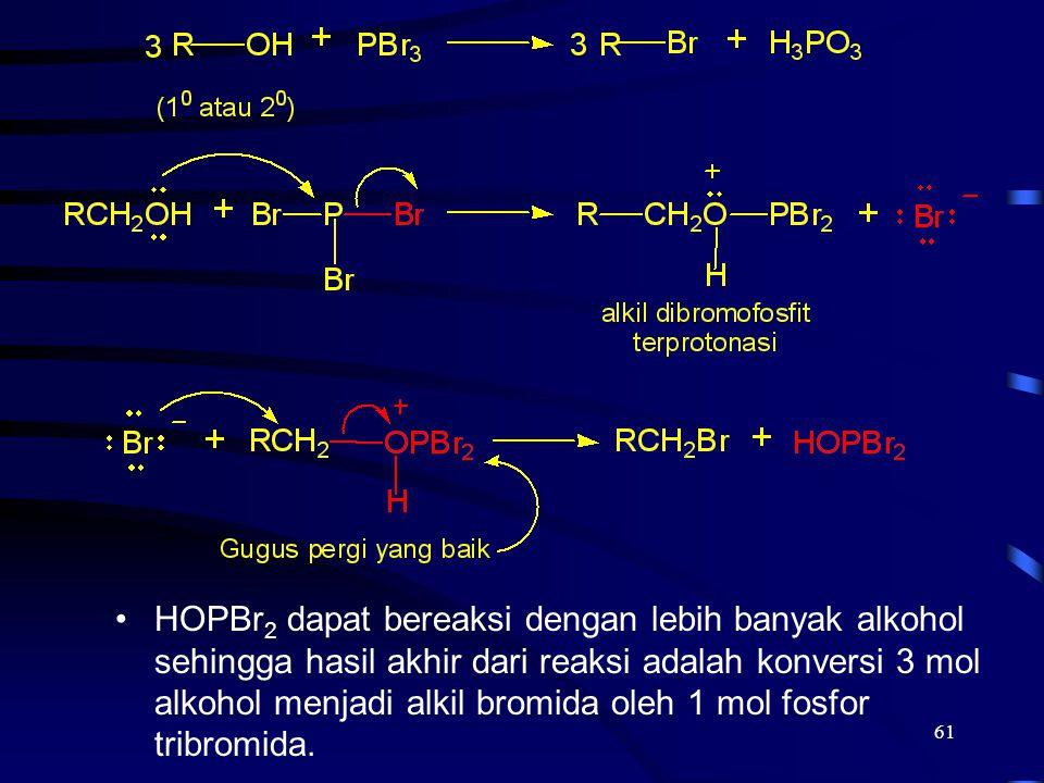 61 HOPBr 2 dapat bereaksi dengan lebih banyak alkohol sehingga hasil akhir dari reaksi adalah konversi 3 mol alkohol menjadi alkil bromida oleh 1 mol