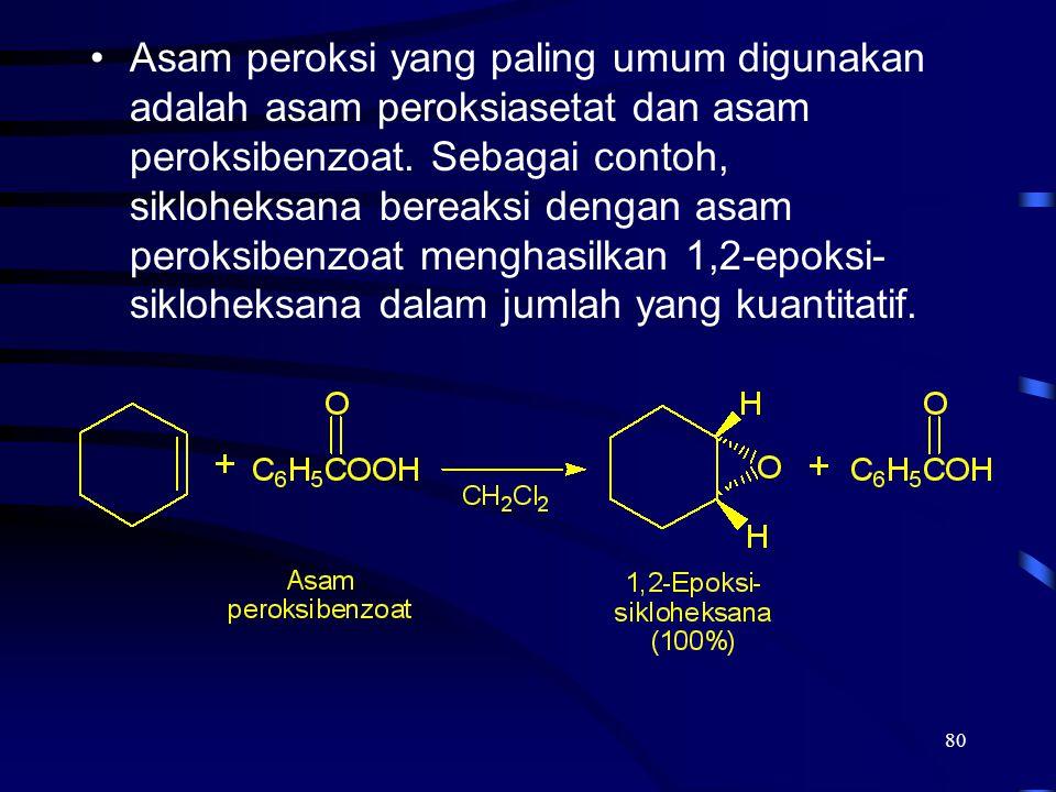 80 Asam peroksi yang paling umum digunakan adalah asam peroksiasetat dan asam peroksibenzoat. Sebagai contoh, sikloheksana bereaksi dengan asam peroks