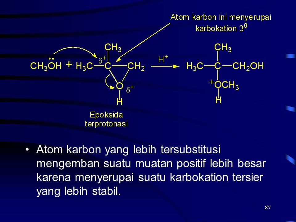 87 Atom karbon yang lebih tersubstitusi mengemban suatu muatan positif lebih besar karena menyerupai suatu karbokation tersier yang lebih stabil.