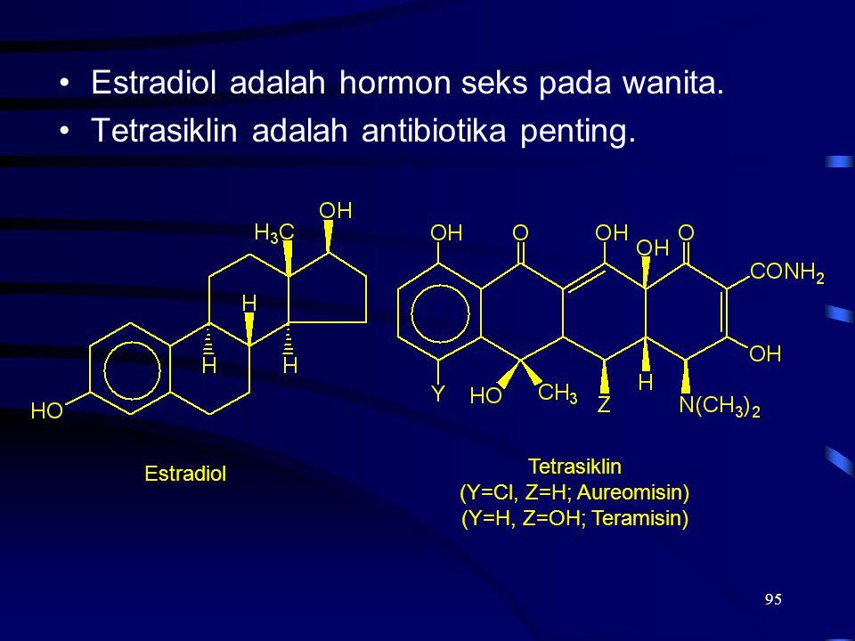 95 Estradiol adalah hormon seks pada wanita. Tetrasiklin adalah antibiotika penting. Estradiol Tetrasiklin (Y=Cl, Z=H; Aureomisin) (Y=H, Z=OH; Teramis