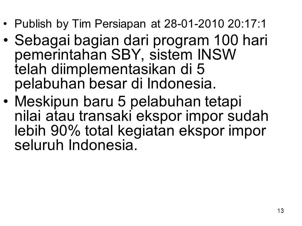 Publish by Tim Persiapan at 28-01-2010 20:17:1 Pd tgl 29 Januari 2010, bertempat di pelabuhan Tanjung Priok Jakarta, Presiden RI Bapak Susilo Bambang