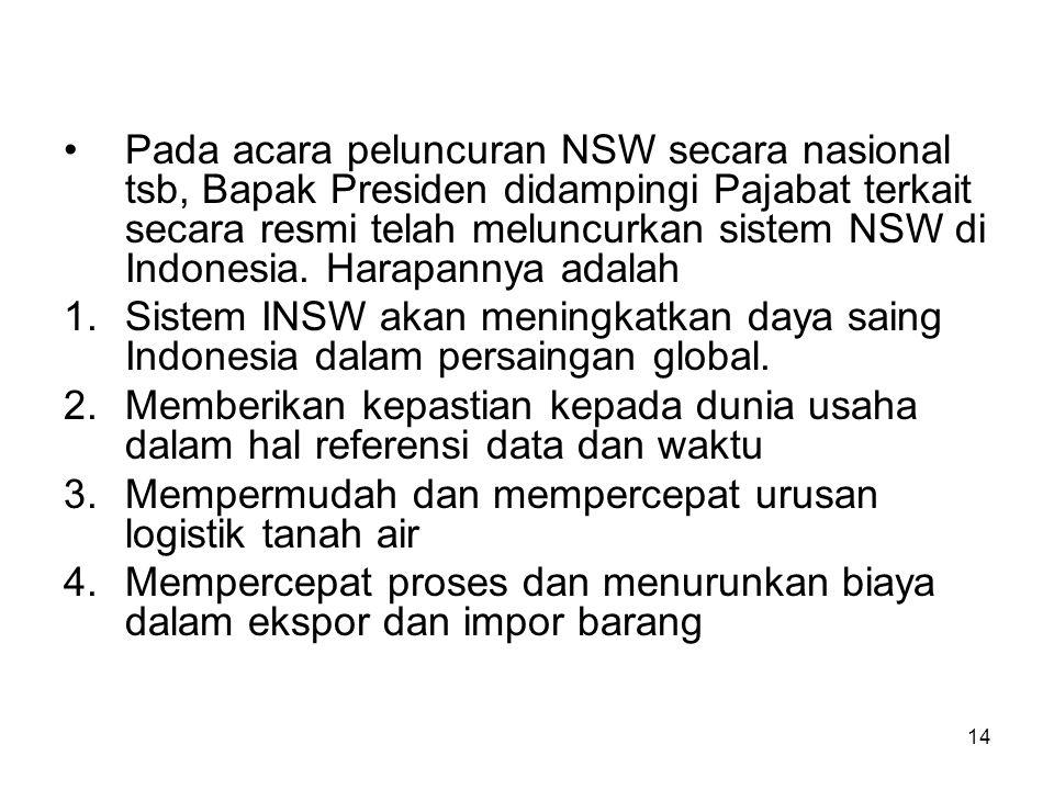 Publish by Tim Persiapan at 28-01-2010 20:17:1 Sebagai bagian dari program 100 hari pemerintahan SBY, sistem INSW telah diimplementasikan di 5 pelabuh