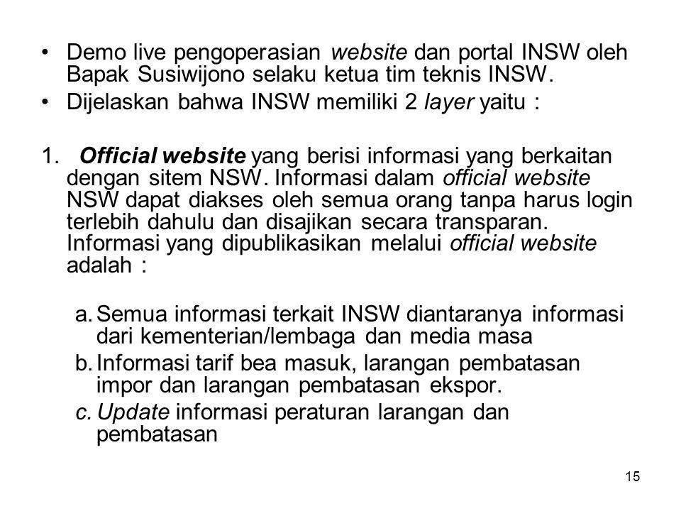 Pada acara peluncuran NSW secara nasional tsb, Bapak Presiden didampingi Pajabat terkait secara resmi telah meluncurkan sistem NSW di Indonesia. Harap