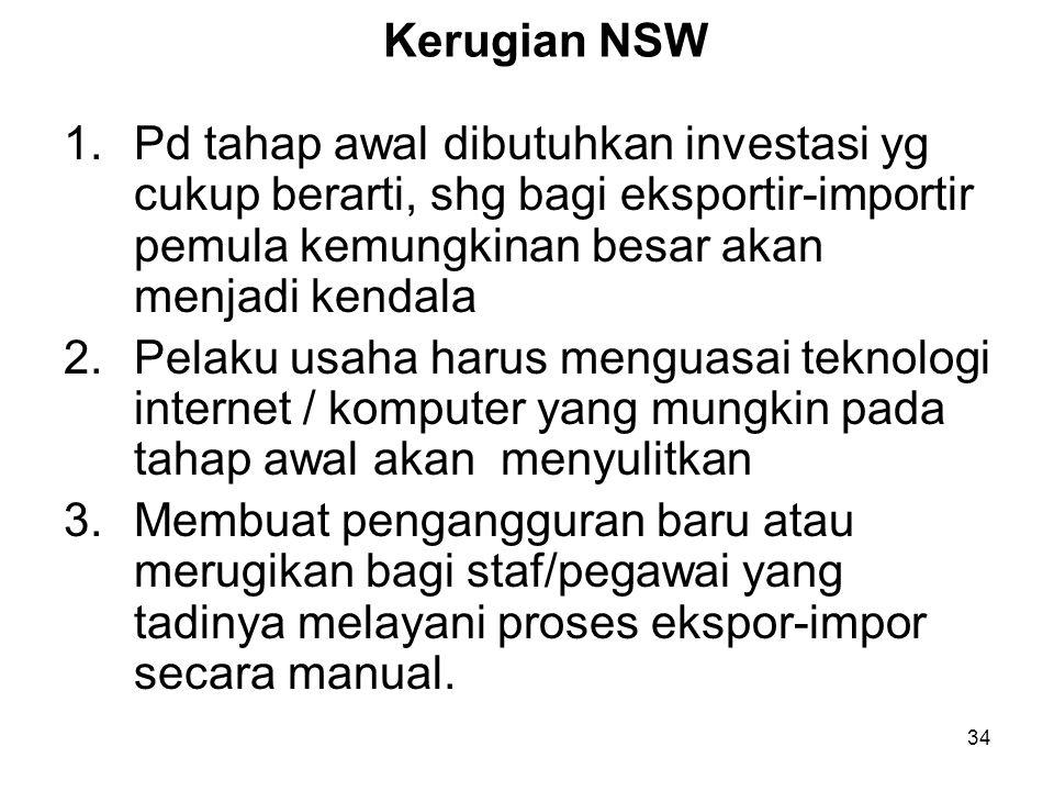 8.Sistem INSW akan meningkatkan daya saing Indonesia dalam persaingan global. 9.Memberikan kepastian kepada dunia usaha dalam hal referensi data dan w