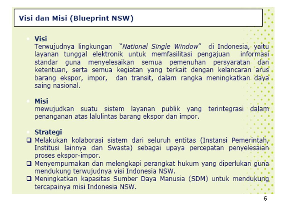 NATIONAL SINGLE WINDOW BPOM DEPDAG Karantina PORT SYSTEMS CUSTOMS BANK DEVISA 2.