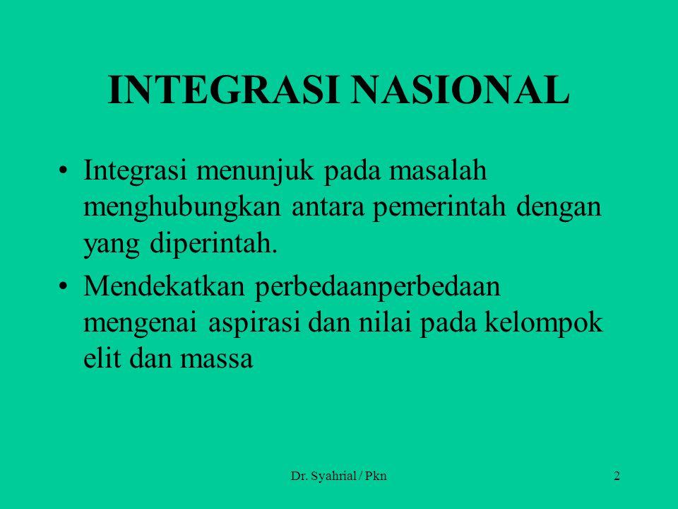 INTEGRASI NASIONAL Integrasi menunjuk pada masalah menghubungkan antara pemerintah dengan yang diperintah. Mendekatkan perbedaanperbedaan mengenai asp