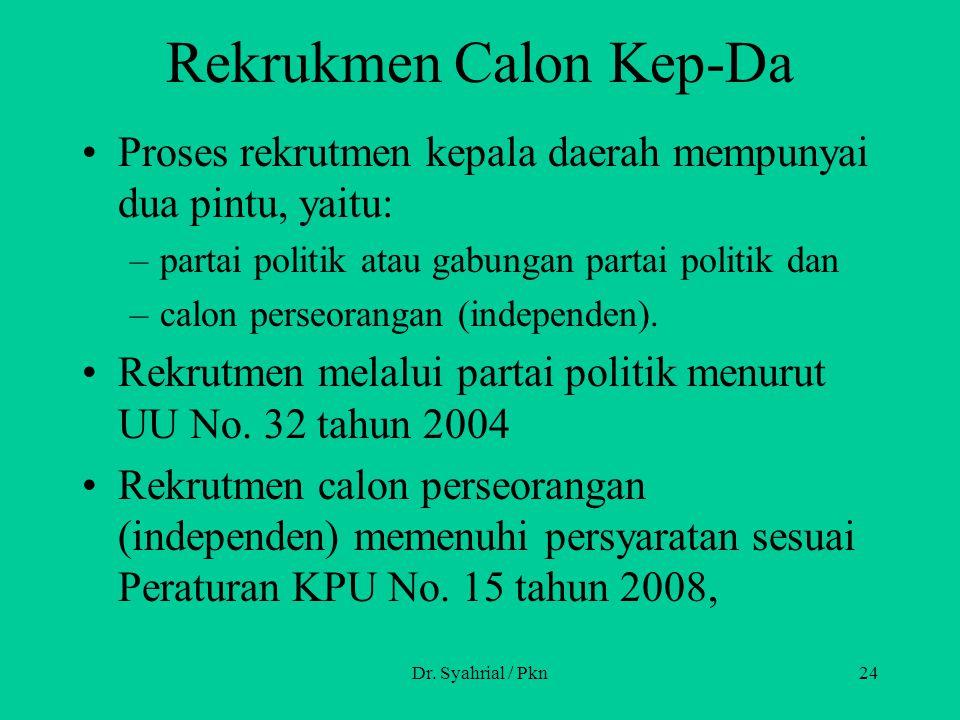 Rekrukmen Calon Kep-Da Proses rekrutmen kepala daerah mempunyai dua pintu, yaitu: –partai politik atau gabungan partai politik dan –calon perseorangan (independen).