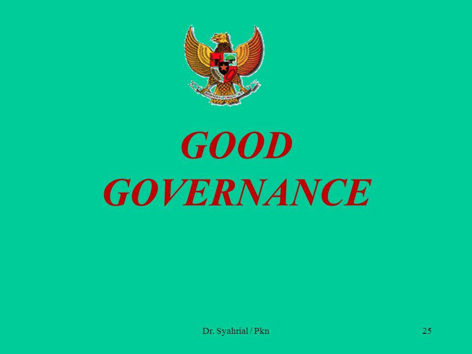 GOOD GOVERNANCE Dr. Syahrial / Pkn25