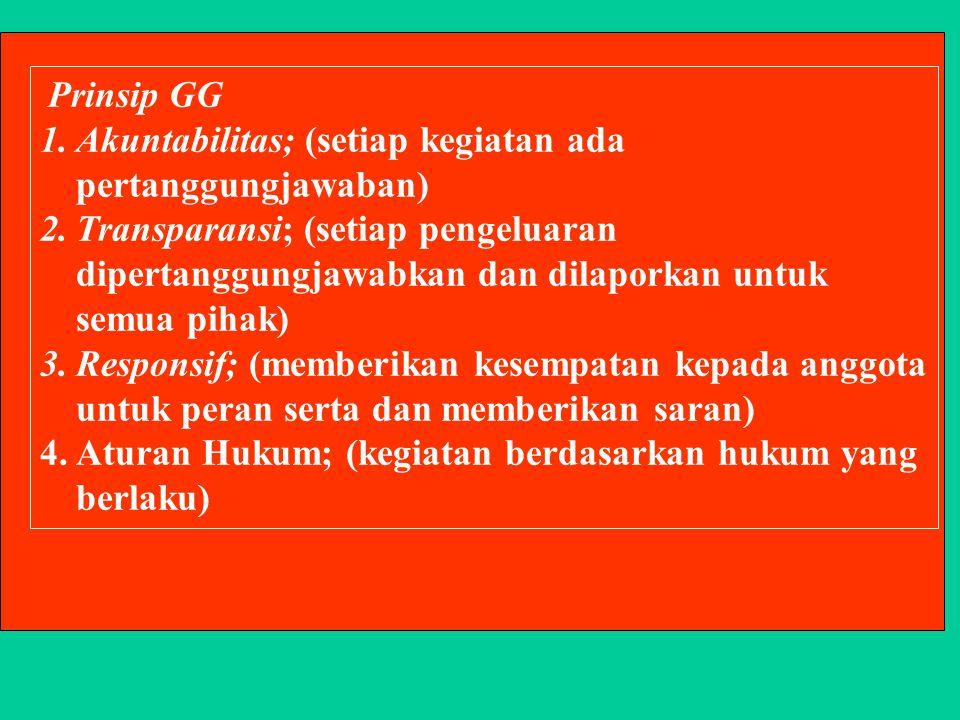 Prinsip GG 1.Akuntabilitas; (setiap kegiatan ada pertanggungjawaban) 2.Transparansi; (setiap pengeluaran dipertanggungjawabkan dan dilaporkan untuk semua pihak) 3.Responsif; (memberikan kesempatan kepada anggota untuk peran serta dan memberikan saran) 4.Aturan Hukum; (kegiatan berdasarkan hukum yang berlaku)