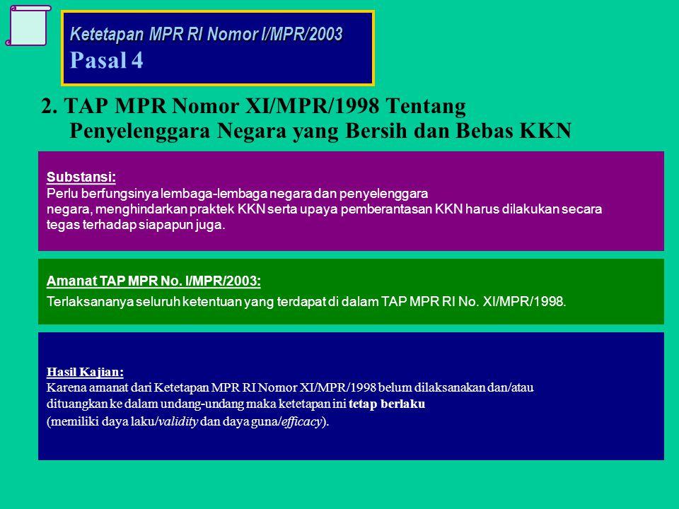 Hasil Kajian: Karena amanat dari Ketetapan MPR RI Nomor XI/MPR/1998 belum dilaksanakan dan/atau dituangkan ke dalam undang-undang maka ketetapan ini tetap berlaku (memiliki daya laku/validity dan daya guna/efficacy).