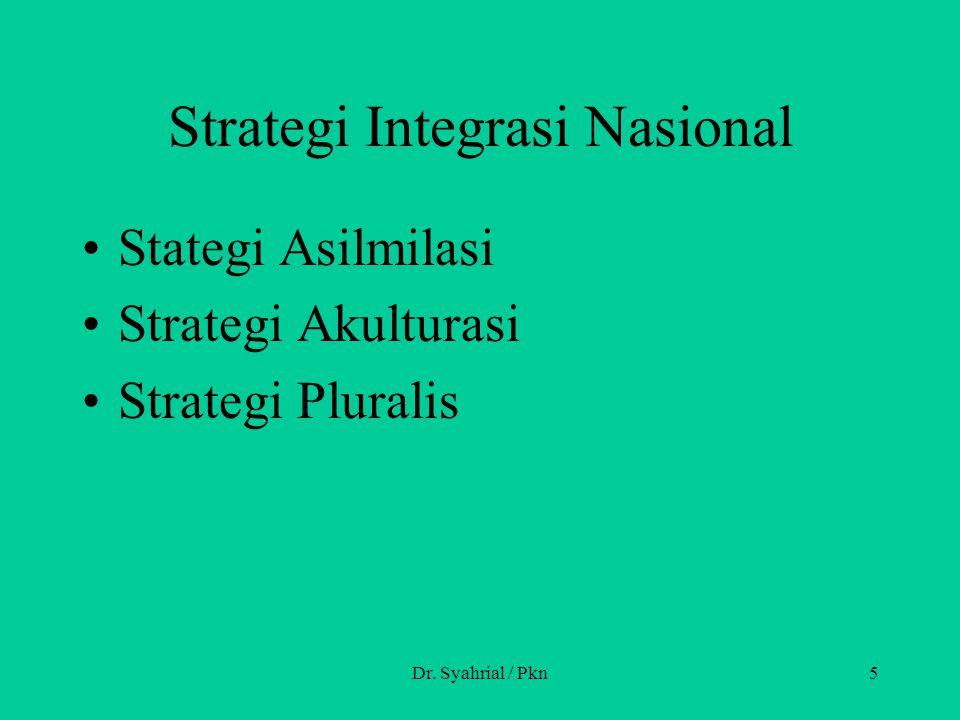 Strategi Integrasi Nasional Stategi Asilmilasi Strategi Akulturasi Strategi Pluralis Dr. Syahrial / Pkn5