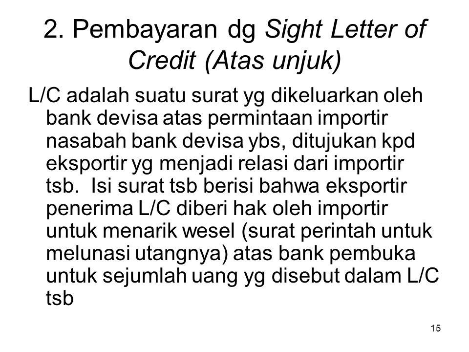 2. Pembayaran dg Sight Letter of Credit (Atas unjuk) L/C adalah suatu surat yg dikeluarkan oleh bank devisa atas permintaan importir nasabah bank devi
