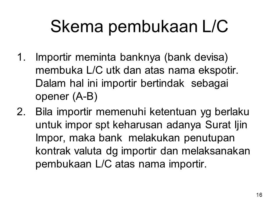 Skema pembukaan L/C 1.Importir meminta banknya (bank devisa) membuka L/C utk dan atas nama ekspotir. Dalam hal ini importir bertindak sebagai opener (