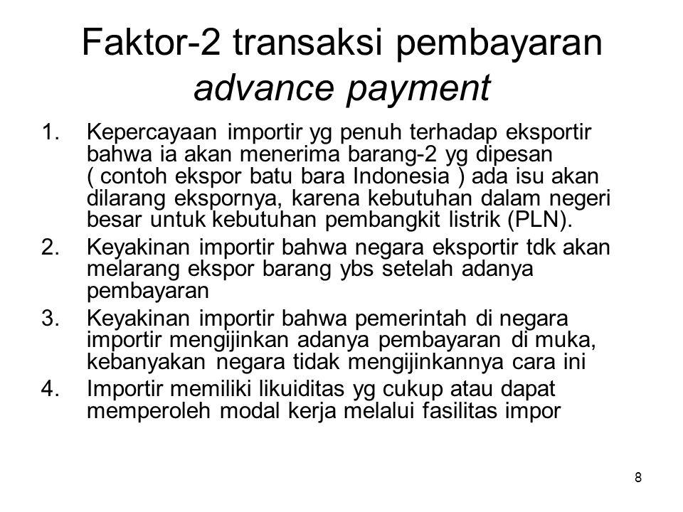 Faktor-2 transaksi pembayaran advance payment 1.Kepercayaan importir yg penuh terhadap eksportir bahwa ia akan menerima barang-2 yg dipesan ( contoh e