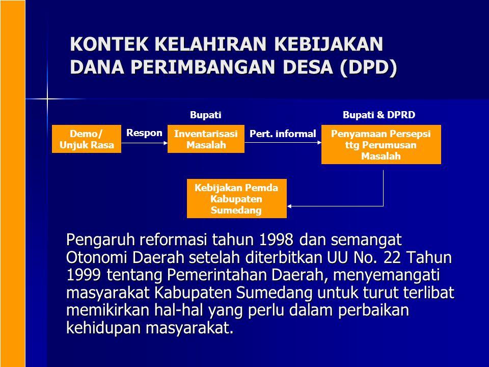 KONTEK KELAHIRAN KEBIJAKAN DANA PERIMBANGAN DESA (DPD) Pengaruh reformasi tahun 1998 dan semangat Otonomi Daerah setelah diterbitkan UU No. 22 Tahun 1