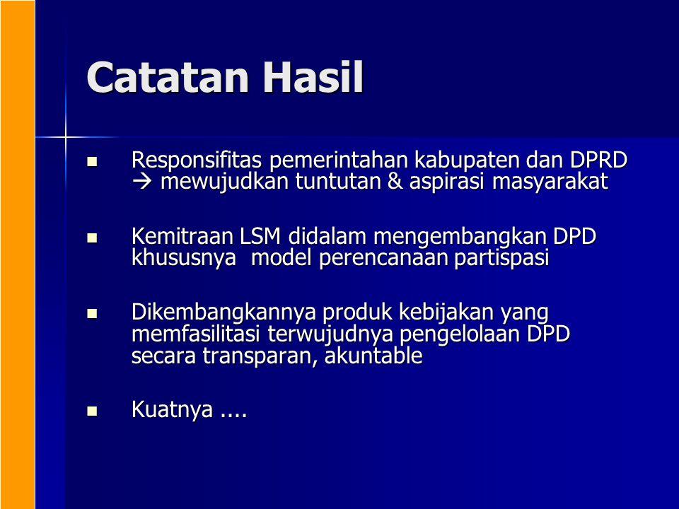 Catatan Hasil Responsifitas pemerintahan kabupaten dan DPRD  mewujudkan tuntutan & aspirasi masyarakat Responsifitas pemerintahan kabupaten dan DPRD