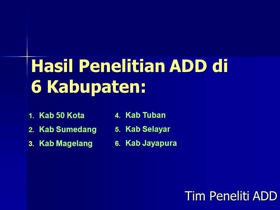 Hasil Penelitian ADD di 6 Kabupaten: Tim Peneliti ADD 1. Kab 50 Kota 2. Kab Sumedang 3. Kab Magelang 4. Kab Tuban 5. Kab Selayar 6. Kab Jayapura
