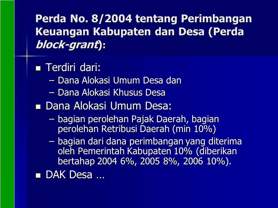 Perda No. 8/2004 tentang Perimbangan Keuangan Kabupaten dan Desa (Perda block-grant) : Terdiri dari: Terdiri dari: –Dana Alokasi Umum Desa dan –Dana A