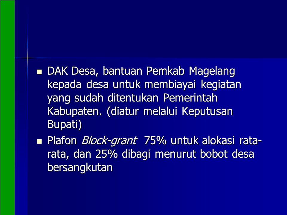 DAK Desa, bantuan Pemkab Magelang kepada desa untuk membiayai kegiatan yang sudah ditentukan Pemerintah Kabupaten. (diatur melalui Keputusan Bupati) D