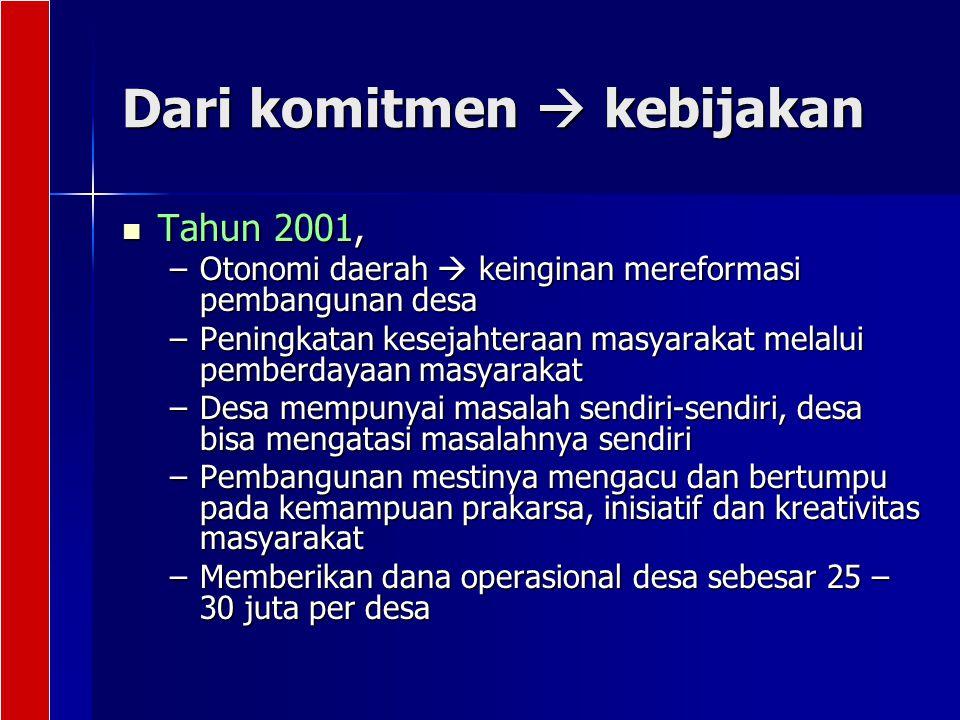 Dari komitmen  kebijakan Tahun 2001, Tahun 2001, –Otonomi daerah  keinginan mereformasi pembangunan desa –Peningkatan kesejahteraan masyarakat melal