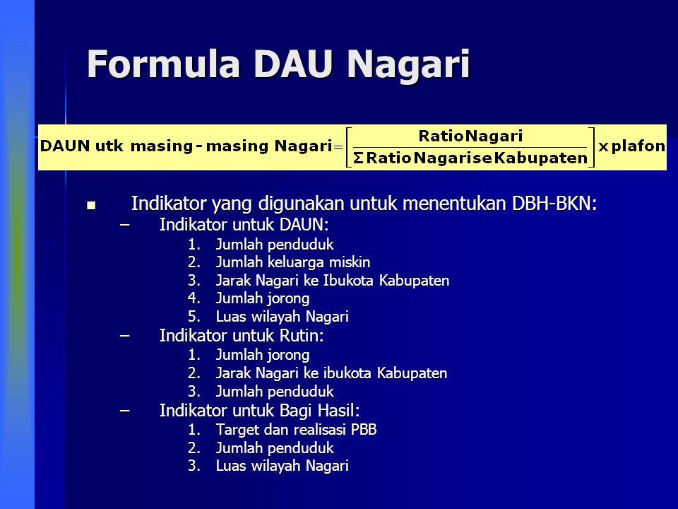 Formula DAU Nagari Indikator yang digunakan untuk menentukan DBH-BKN: Indikator yang digunakan untuk menentukan DBH-BKN: –Indikator untuk DAUN: 1.Juml