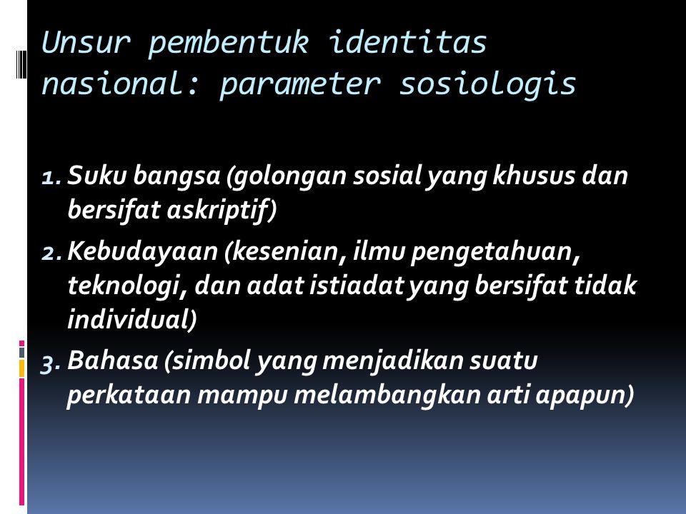 Unsur pembentuk identitas nasional: parameter sosiologis 1. Suku bangsa (golongan sosial yang khusus dan bersifat askriptif) 2. Kebudayaan (kesenian,