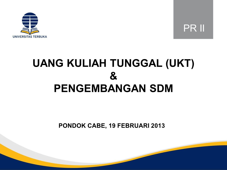 UANG KULIAH TUNGGAL (UKT) & PENGEMBANGAN SDM PONDOK CABE, 19 FEBRUARI 2013 PR II