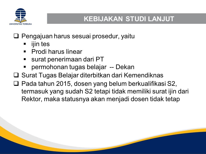 KEBIJAKAN STUDI LANJUT  Pengajuan harus sesuai prosedur, yaitu  ijin tes  Prodi harus linear  surat penerimaan dari PT  permohonan tugas belajar