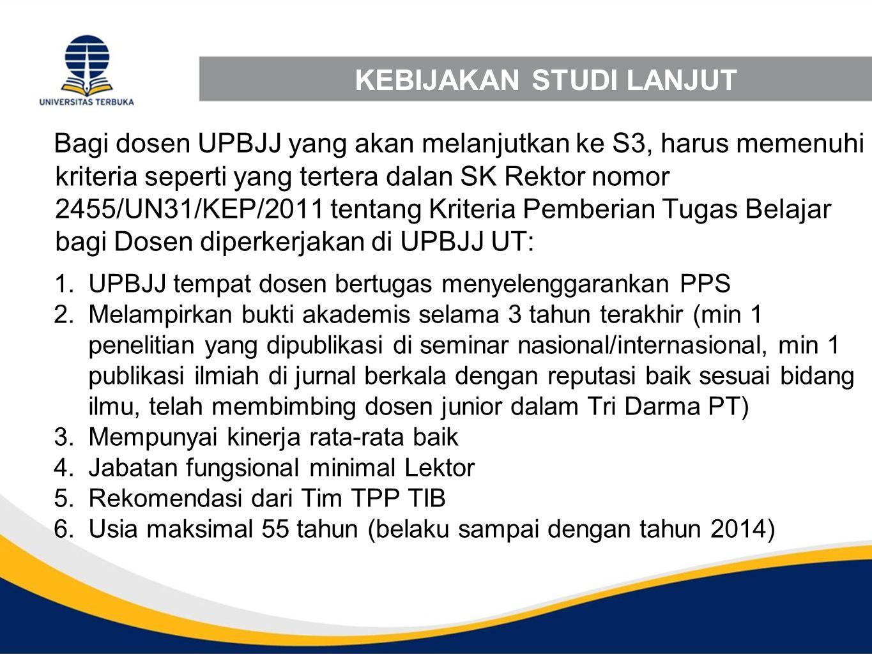 KEBIJAKAN STUDI LANJUT Bagi dosen UPBJJ yang akan melanjutkan ke S3, harus memenuhi kriteria seperti yang tertera dalan SK Rektor nomor 2455/UN31/KEP/