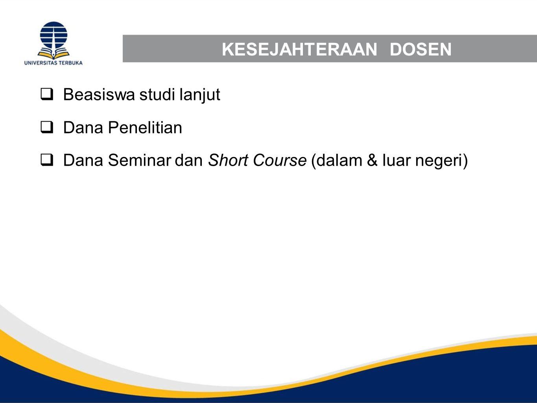 KESEJAHTERAAN DOSEN  Beasiswa studi lanjut  Dana Penelitian  Dana Seminar dan Short Course (dalam & luar negeri)