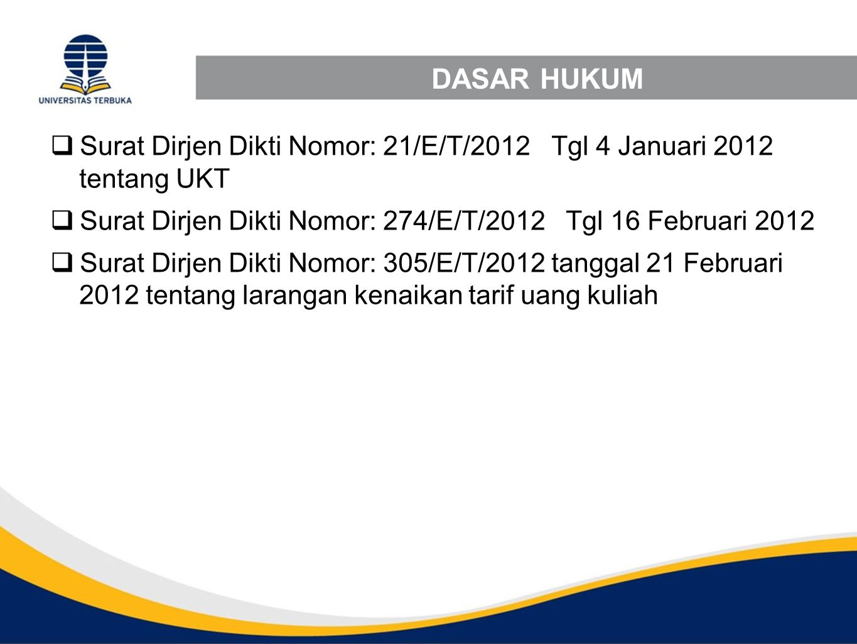 DASAR HUKUM  Surat Dirjen Dikti Nomor: 21/E/T/2012 Tgl 4 Januari 2012 tentang UKT  Surat Dirjen Dikti Nomor: 274/E/T/2012 Tgl 16 Februari 2012  Sur