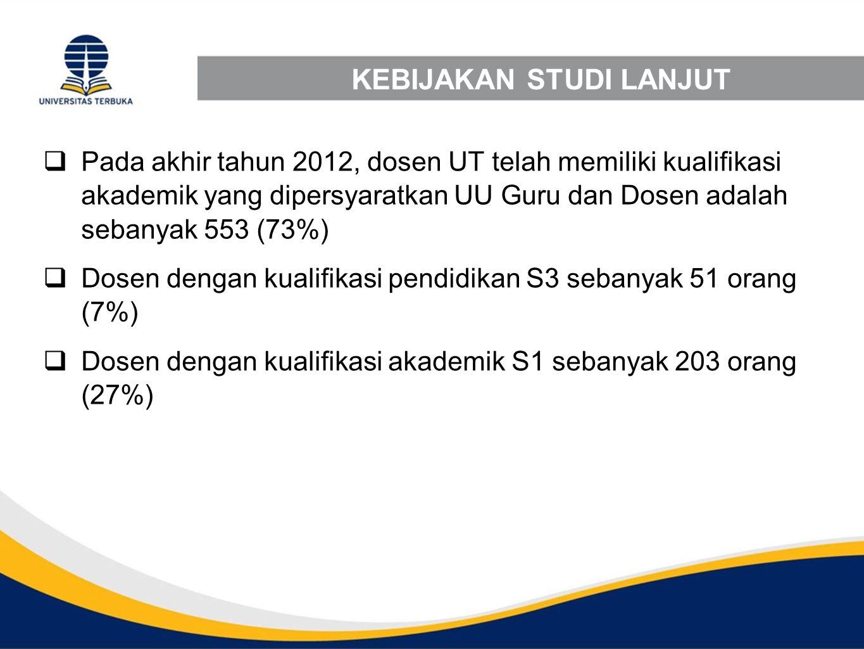 KEBIJAKAN STUDI LANJUT  Pada akhir tahun 2012, dosen UT telah memiliki kualifikasi akademik yang dipersyaratkan UU Guru dan Dosen adalah sebanyak 553