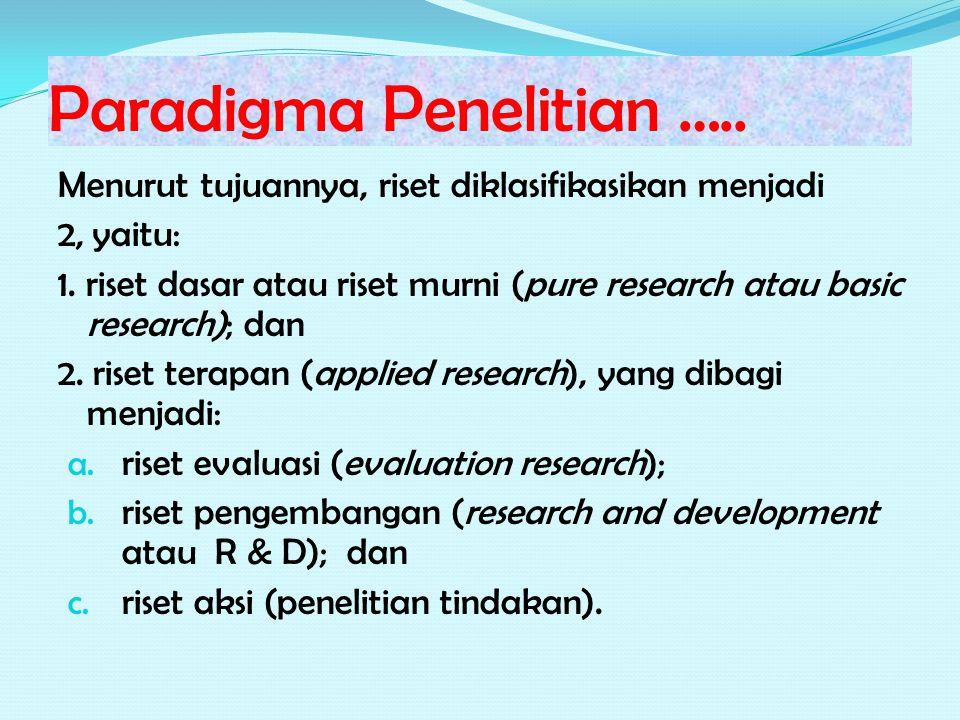 Paradigma Penelitian ….. Menurut tujuannya, riset diklasifikasikan menjadi 2, yaitu: 1.