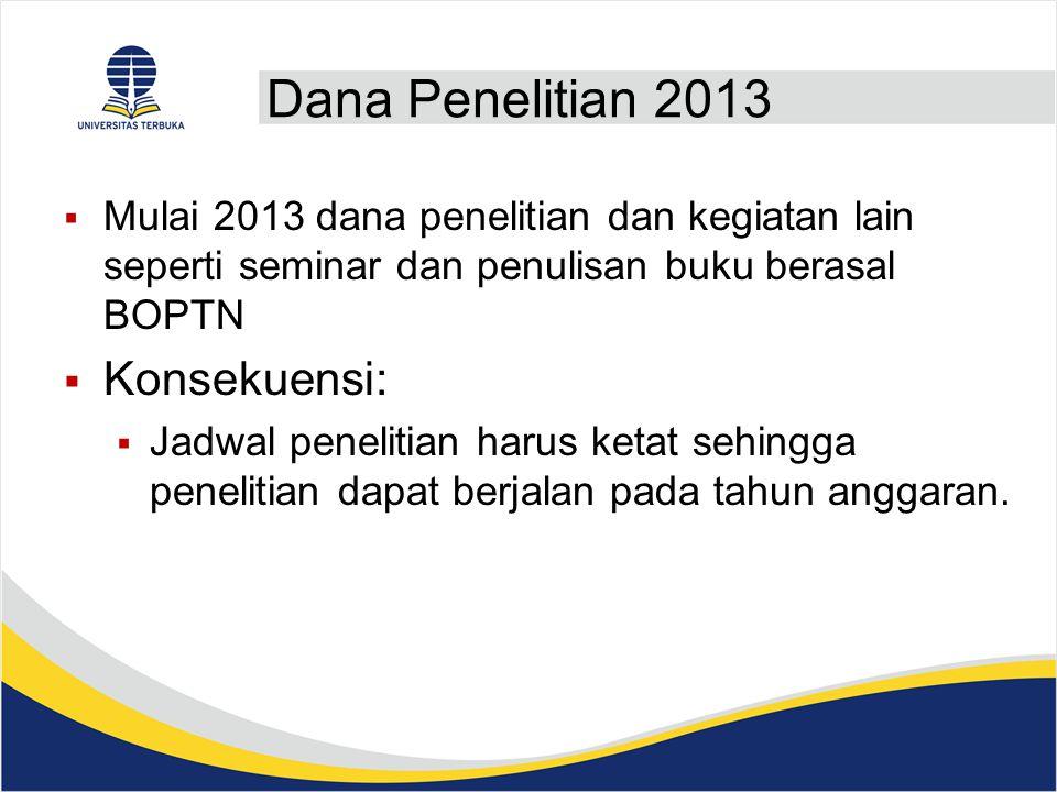 Dana Penelitian 2013  Mulai 2013 dana penelitian dan kegiatan lain seperti seminar dan penulisan buku berasal BOPTN  Konsekuensi:  Jadwal penelitian harus ketat sehingga penelitian dapat berjalan pada tahun anggaran.